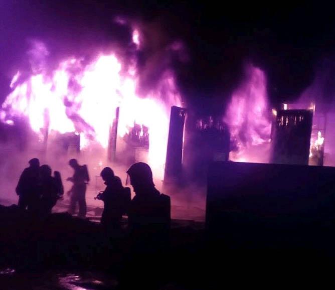 Вминском районе Масюковщина сгорели склады наплощади 500 квадратных метров