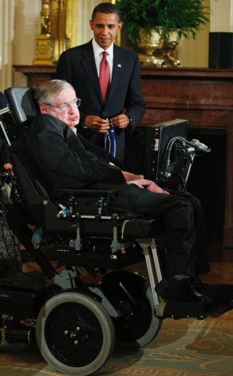 Стивен Хокинг и Обама - фото