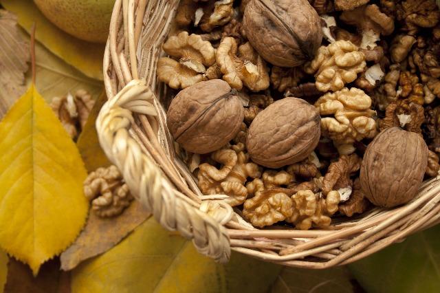 Орехи в корзине - фото