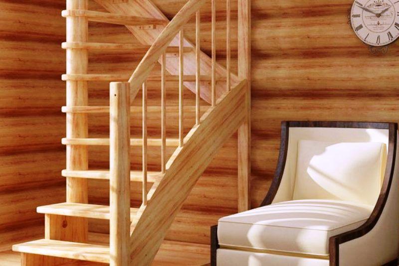 лестница из дерева, строим лестницу из сосны - фото