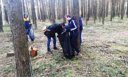 В Пинске волонтеры вышли на уборку леса - фото